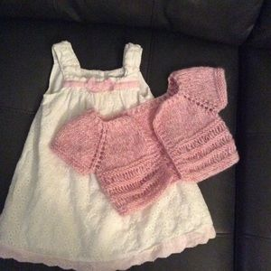 Maggie and Zoe eyelet Dress ~ Pink Crochet sweater